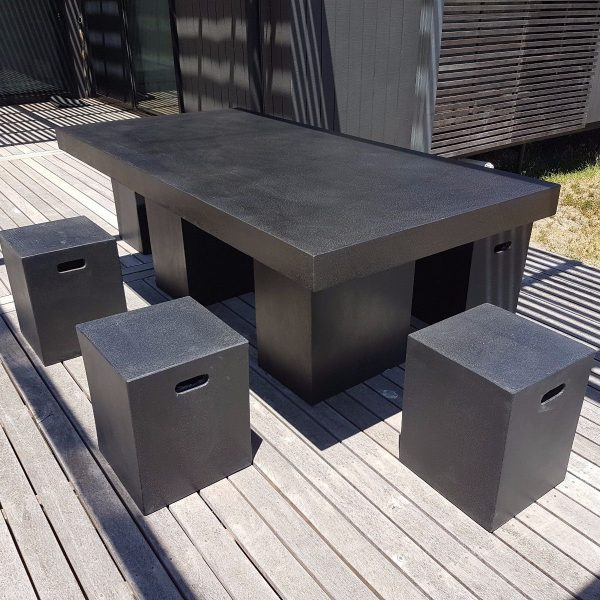 Outdoor Indoor Furniture Black Terrazzo Light Weight Concrete Dinning Set