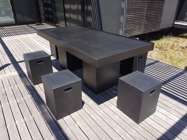 Black Terrazzo Light Weight Concrete Dinning Set