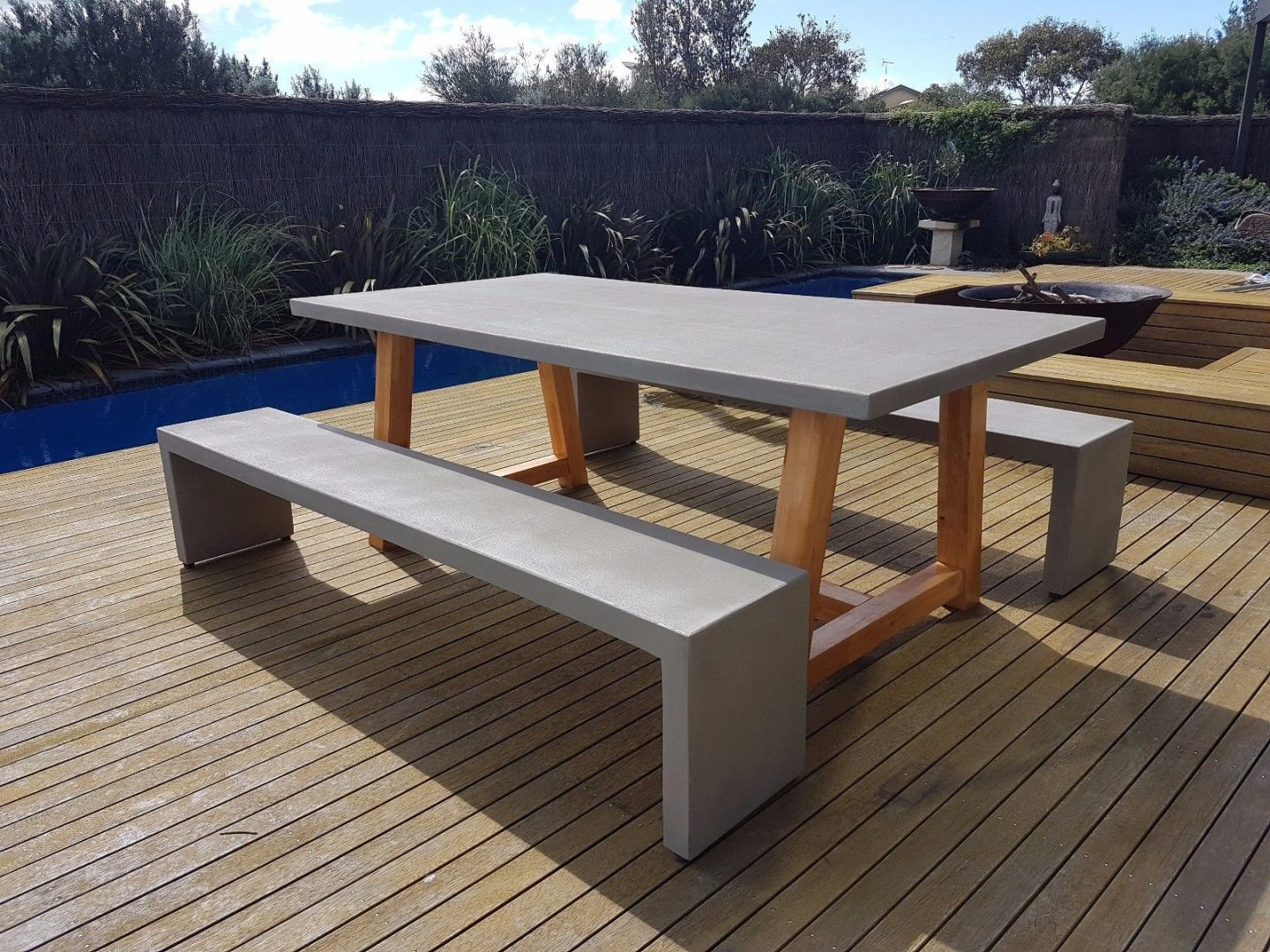 Outdoor furniture 2mt x 1mt grc concrete table 2 x for Outdoor furniture benches