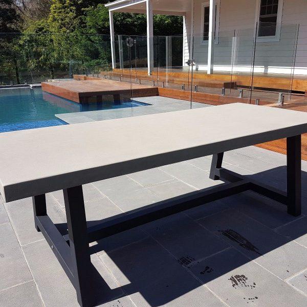 Outdoor Furniture: 2mt X 1mt GRC Concrete + Black Steel Legs