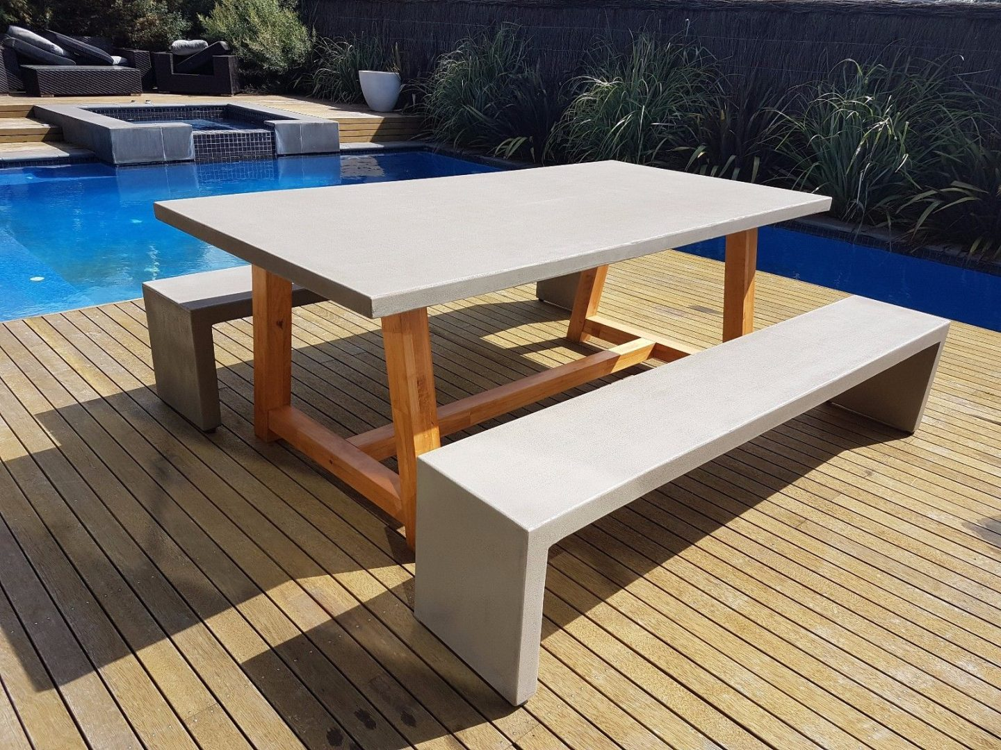 Outdoor furniture 2mt x 1mt grc concrete table 2 x for Outdoor garden furniture